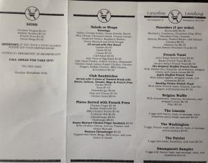 Lincolns landing menu